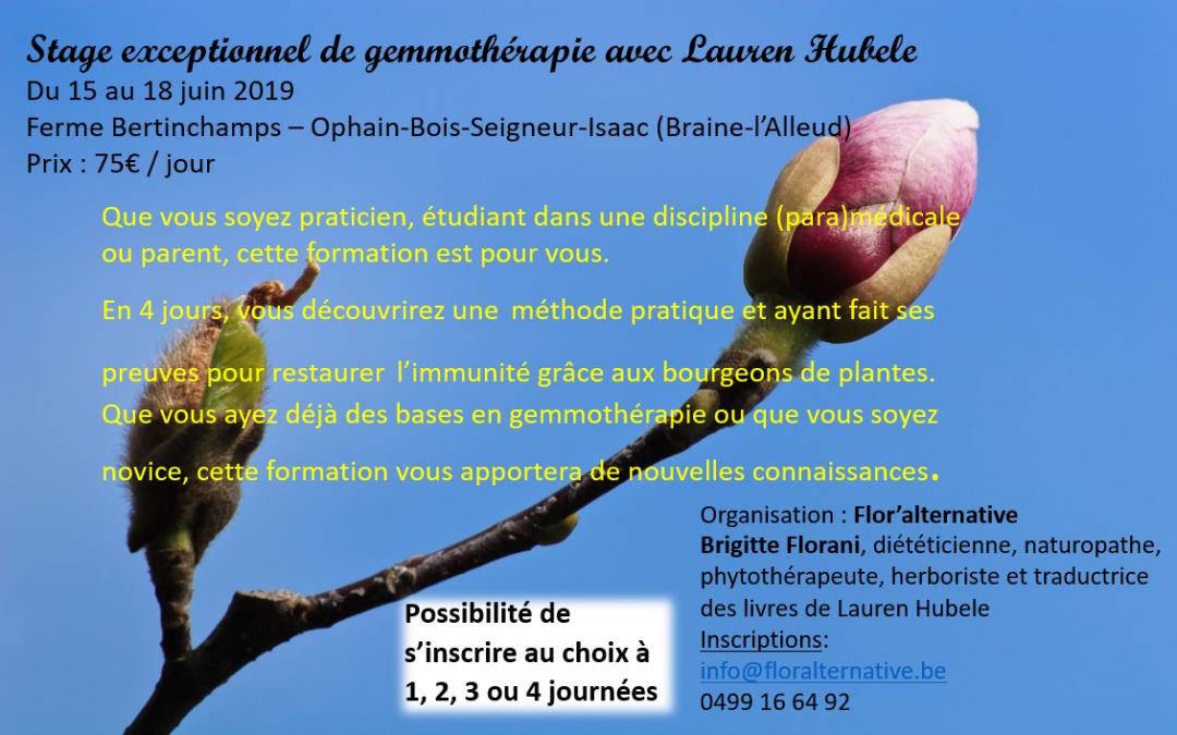15 -18/06/2019 Stage exceptionnel de gemmothérapie avec Lauren Hubele – Programme détaillé